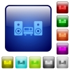Color hifi square buttons - Set of hifi color glass rounded square buttons