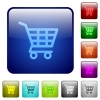 Color shopping cart square buttons - Set of shopping cart color glass rounded square buttons