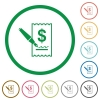 Cheque signing outlined flat icons - Set of cheque signing color round outlined flat icons on white background