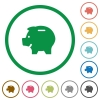 Piggy bank outlined flat icons - Set of piggy bank color round outlined flat icons on white background