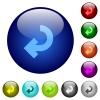 Color return arrow glass buttons - Set of color return arrow glass web buttons.