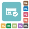 Flat credit card verified icons - Flat credit card verified icons on rounded square color backgrounds.