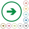Right arrow outlined flat icons - Set of right arrow color round outlined flat icons on white background