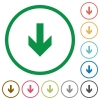 Down arrow outlined flat icons - Set of down arrow color round outlined flat icons on white background