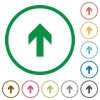 Up arrow outlined flat icons - Set of up arrow color round outlined flat icons on white background