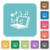 Flat laptop music icons - Flat laptop music icons on rounded square color backgrounds.