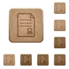 Certificate document wooden buttons - Set of carved wooden certificate document buttons in 8 variations.