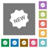 New badge square flat icons - New badge flat icon set on color square background.
