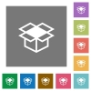 Open box square flat icons - Open box flat icon set on color square background.
