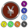 Color Yen sign buttons - Set of color glossy coin-like Yen sign buttons