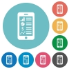 Flat mobile application icons - Flat mobile application icon set on round color background.