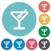 Flat cocktail icon set on round color background. - Flat cocktail icons