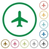 Airplane outlined flat icons - Set of airplane color round outlined flat icons on white background