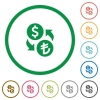 Set of Dollar Lira exchange color round outlined flat icons on white background - Dollar Lira exchange outlined flat icons