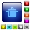 Color cooking square buttons - Set of cooking color glass rounded square buttons
