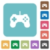 Flat game controller icons - Flat game controller icons on rounded square color backgrounds.
