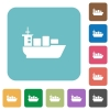 Flat sea transport icons - Flat sea transport icons on rounded square color backgrounds.