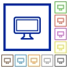 Monitor framed flat icons - Set of color square framed monitor flat icons