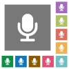 Microphone square flat icons - Microphone flat icon set on color square background.