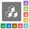 Isometric cubes square flat icons - Isometric cubes flat icon set on color square background.