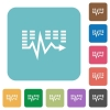 Flat music waves icons - Flat music waves icons on rounded square color backgrounds.