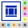 Three columned web layout framed flat icons - Set of color square framed Three columned web layout flat icons