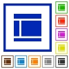 Two columned web layout framed flat icons - Set of color square framed Two columned web layout flat icons