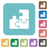 Flat puzzle icons - Flat puzzle icons on rounded square color backgrounds.
