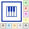 Piano keyboard framed flat icons - Set of color square framed piano keyboard flat icons