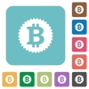 Flat Bitcoin sticker icons - Flat Bitcoin sticker icons on rounded square color backgrounds.
