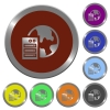Set of color glossy coin-like web hosting buttons - Color web hosting buttons