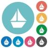 Flat sailboat icons - Flat sailboat icon set on round color background.