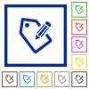 Tagging framed flat icons - Set of color square framed tagging flat icons