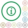 Information outlined flat icons - Set of information color round outlined flat icons on white background