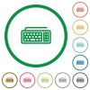 Set of computer keyboard color round outlined flat icons on white background - Computer keyboard outlined flat icons