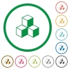 Cubes outlined flat icons - Set of cubes color round outlined flat icons on white background
