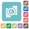 Flat Pound coins icons - Flat Pound coins icons on rounded square color backgrounds.