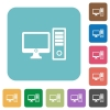 Flat desktop computer icons - Flat desktop computer icons on rounded square color backgrounds.
