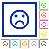 Sad emoticon framed flat icons - Set of color square framed Sad emoticon flat icons