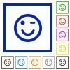 Winking emoticon framed flat icons - Set of color square framed Winking emoticon flat icons