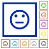 Neutral emoticon framed flat icons - Set of color square framed Neutral emoticon flat icons