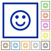 Smiling emoticon framed flat icons - Set of color square framed Smiling emoticon flat icons