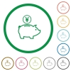 Yen piggy bank outlined flat icons - Set of Yen piggy bank color round outlined flat icons on white background