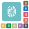 Flat fingerprint icons - Flat fingerprint icons on rounded square color backgrounds.
