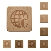 Internet security wooden buttons - Set of carved wooden internet security buttons in 8 variations.