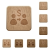 Send Dollar wooden buttons - Set of carved wooden send Dollar buttons in 8 variations.
