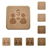 Receive Dollar wooden buttons - Set of carved wooden Receive Dollar buttons in 8 variations.