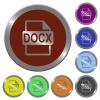 Color DOCX file format buttons - Set of color glossy coin-like DOCX file format buttons