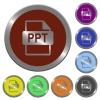 Color PPT file format buttons - Set of color glossy coin-like PPT file format buttons