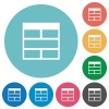 Flat Spreadsheet horizontally merge table cells icons - Flat Spreadsheet horizontally merge table cells icon set on round color background.